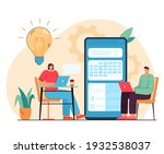 tiny people chatting and... | Shutterstock .eps vector #1932538037