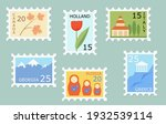 set of creative post stamps... | Shutterstock .eps vector #1932539114