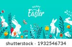 happy easter greeting frame... | Shutterstock .eps vector #1932546734