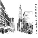 black ink drawing of city... | Shutterstock . vector #193255511