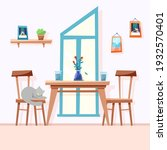 the dining table is standing.... | Shutterstock .eps vector #1932570401