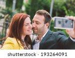 happy couple taking selfie | Shutterstock . vector #193264091