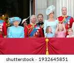 Small photo of Queen Elizabeth, London, uk, June 2018- Meghan Markle, Prince Harry, Prince George William, Charles, Kate Middleton Princess Charlotte Trooping the colour Royal Family at Buckingham Palace, June 10 2