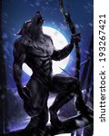 Werewolf Howling On A Tree Wit...