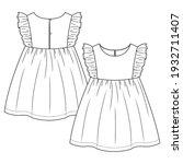 baby girls frill sleeves... | Shutterstock .eps vector #1932711407
