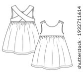baby girls sleeveless dress... | Shutterstock .eps vector #1932711614