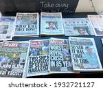 Small photo of Meghan Markle, London, UK- 3.9.2021: UK tabloid press newspapers front pages after the Meghan Markle and Prince Harry Oprah interview, every Tabloid newspaper front page carrying interview revelations