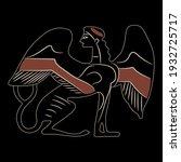 ancient greek sphinx. fantastic ... | Shutterstock .eps vector #1932725717