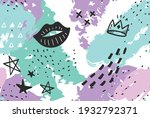 hand drawn abstract memphis... | Shutterstock .eps vector #1932792371