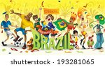 Brazil football, soccer, abstract characters, carnival (vector Art) - stock vector
