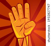 hand shows four finger with red ...   Shutterstock .eps vector #1932827747