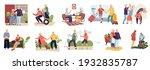 elderly couples. cartoon hand... | Shutterstock . vector #1932835787