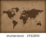 world map  scratched old paper | Shutterstock . vector #1932850