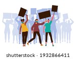 people with placards. protest.... | Shutterstock .eps vector #1932866411