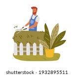 garden worker pruning hedge... | Shutterstock .eps vector #1932895511