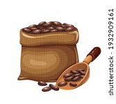 bag ground cocoa with wooden... | Shutterstock .eps vector #1932909161