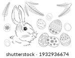 easter. linear rabbit image.... | Shutterstock .eps vector #1932936674