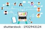 businessman connecting online... | Shutterstock .eps vector #1932943124