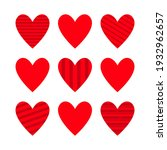 red heart icon set. cute line... | Shutterstock .eps vector #1932962657