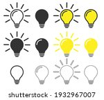 glowing idea light bulb icon... | Shutterstock .eps vector #1932967007