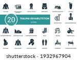trauma rehabilitation icon set. ... | Shutterstock .eps vector #1932967904