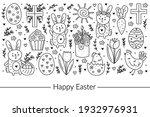 happy easter doodle line art... | Shutterstock .eps vector #1932976931