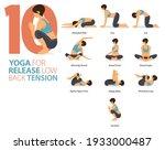 infographic 8 yoga poses for... | Shutterstock .eps vector #1933000487