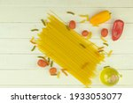 Raw Spaghetti And Pasta With...