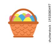 easter basket with eggs on a... | Shutterstock .eps vector #1933080497