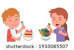 healthy and unhealthy food diet....   Shutterstock .eps vector #1933085507