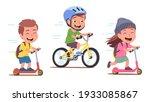 girl  boys kids cyclists... | Shutterstock .eps vector #1933085867
