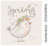 cute spring bird with a wreath...   Shutterstock .eps vector #1933103831