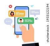 chatting and messaging. man and ... | Shutterstock .eps vector #1933122194