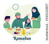 moslem family iftar enjoying... | Shutterstock .eps vector #1933122857