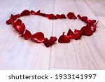 Heart Of Rose Petals On The...