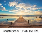 Old Wooden Dock At The Lake ...