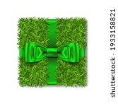 gift box 3d. green grass box... | Shutterstock .eps vector #1933158821