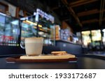 cup of hot coffee latte on... | Shutterstock . vector #1933172687