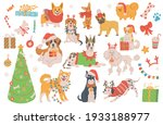 christmas dogs cartoon... | Shutterstock .eps vector #1933188977