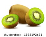 whole juicy kiwi and half green ...   Shutterstock .eps vector #1933192631