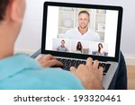 man having video conference... | Shutterstock . vector #193320461