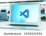 Small photo of POZNAN, POL - FEB 6, 2021: Laptop computer displaying logo of Microsoft Visual Studio, an integrated development environment (IDE) from Microsoft