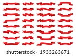 red ribbon flat set. blank tape ... | Shutterstock .eps vector #1933263671