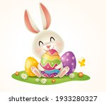 easter bunny and easter painted ... | Shutterstock .eps vector #1933280327