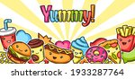 background with cute kawaii... | Shutterstock .eps vector #1933287764
