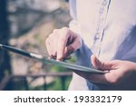 close up hands multitasking man ... | Shutterstock . vector #193332179