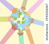 hands holding globe.unity and... | Shutterstock .eps vector #1933326467