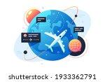 modern technology plane flies... | Shutterstock .eps vector #1933362791