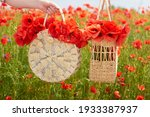 Two Wicker Handbags With Red...