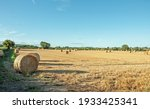 Straw Bales In The Summer Field.